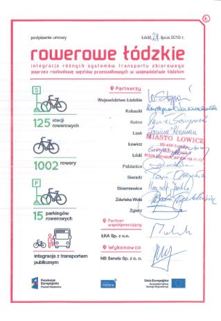 """podpisanie umowy z nb serwis sp. z o.o. na """"Dostawę, uruchomienie,  zarządzanie oraz kompleksową eksploatację systemu samoobsługowych  wypożyczalni rowerów publicznych"""" ."""